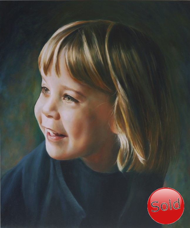 realistic portrait painting of a young girl in oil