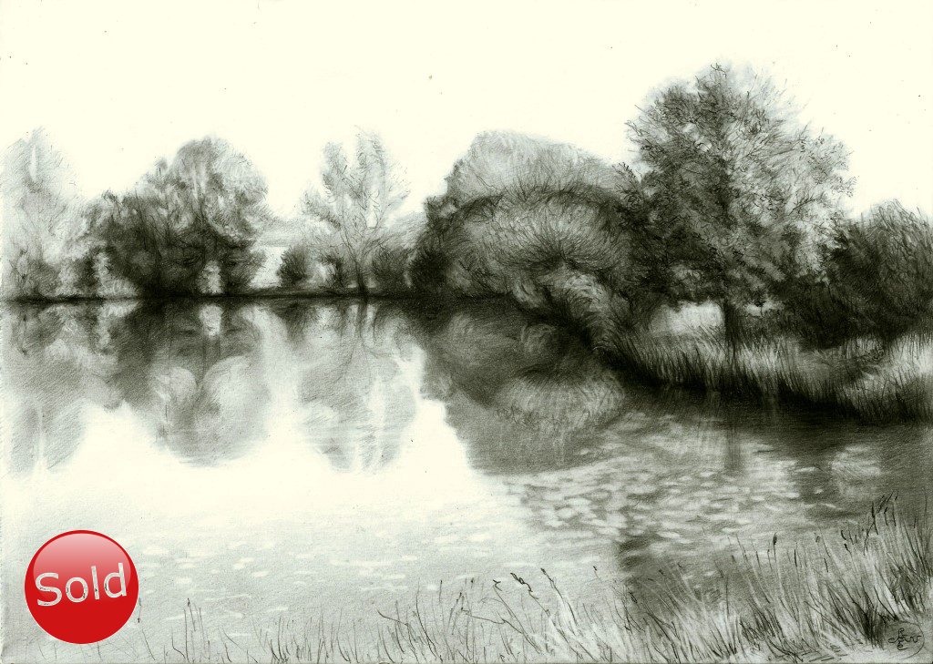surrealistic landscape graphite pencil drawing