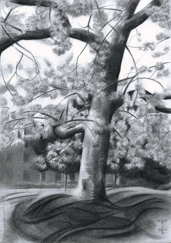 Cubistic treescape graphite pencil drawing