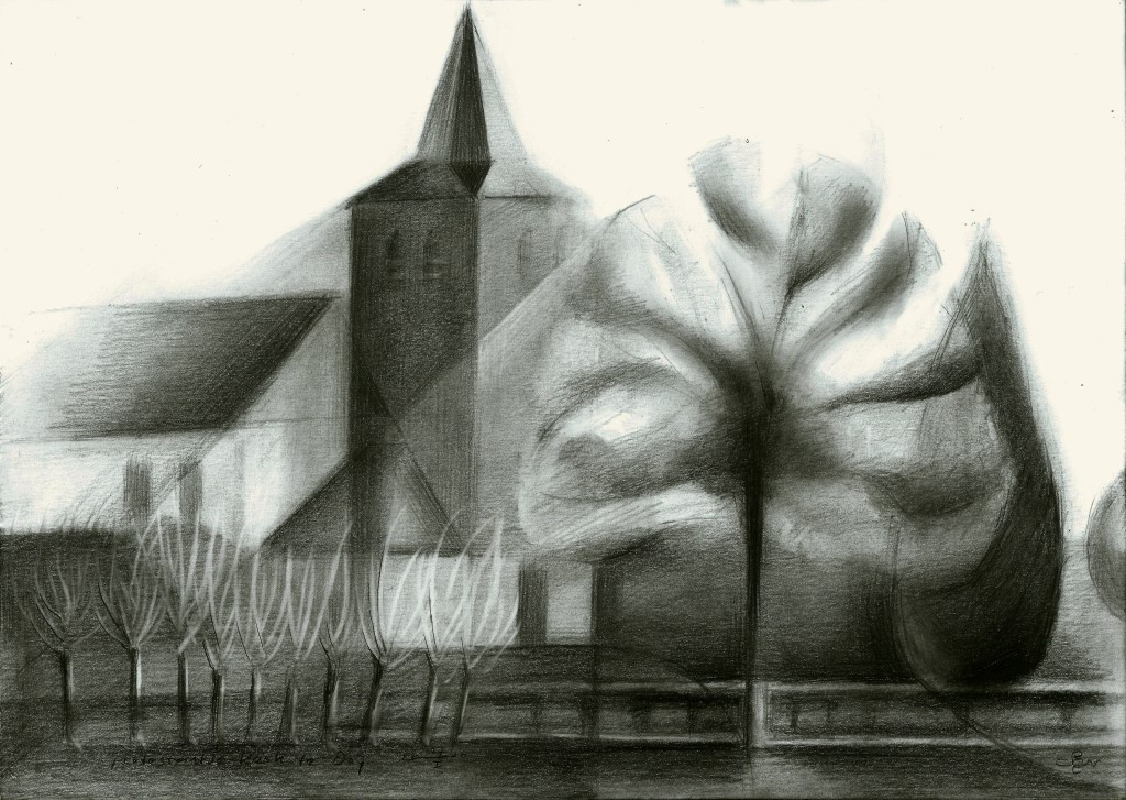 Cubistic church graphite pencil drawing
