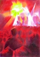 surrealistic concert colored pencil drawing thumbnail