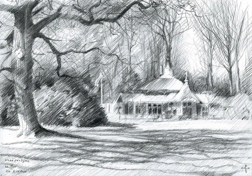 impressionistic landscape graphite pencil drawing