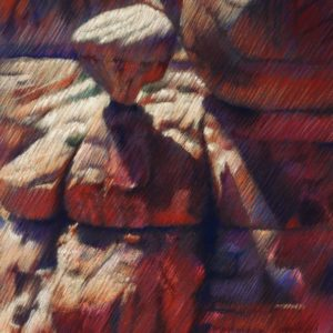 impressionistic canyon pastel drawing