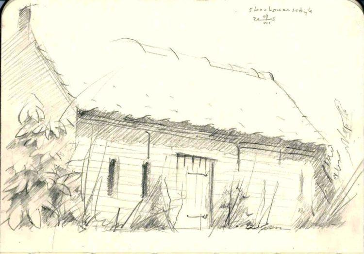 impressionistic farm graphite pencil sketch thumbnail