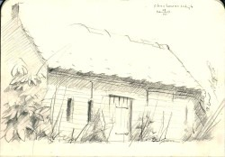 impressionistic farm graphite pencil sketch thumbnail