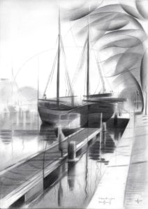 cubistic harbour graphite pencil drawing