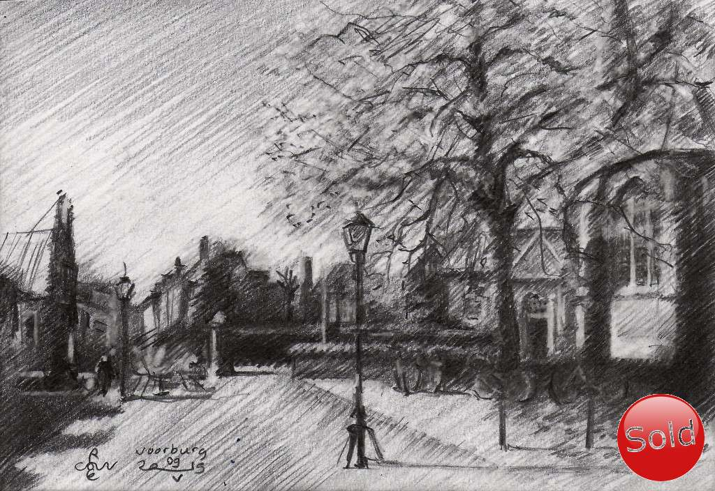 impressionist urban graphite pencil drawing promotion