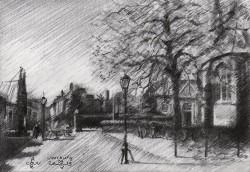 impressionistic street graphite pencil drawing thumbnail
