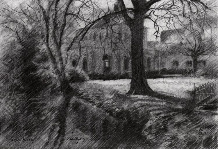impressionistic mansion grapite pencil drawing