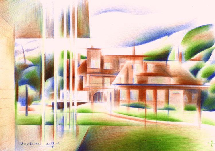 cubistic mansion colored pencil drawing