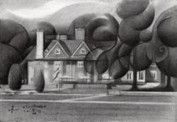 cubistic landscape graphite pencil drawing thumbnail