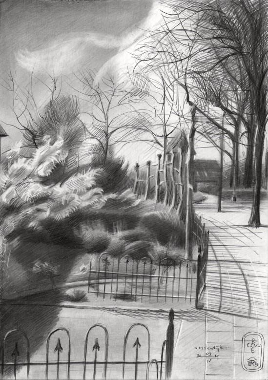 realistic landscape graphite pencil drawing