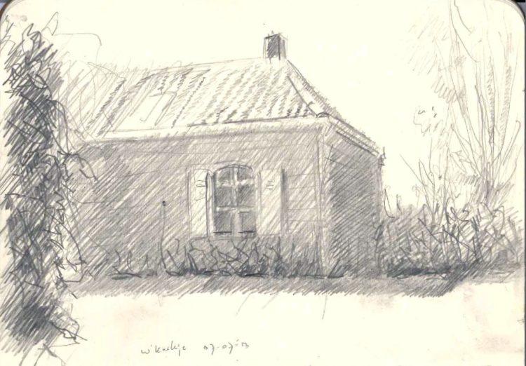 impressionistic mansion graphite pencil drawing