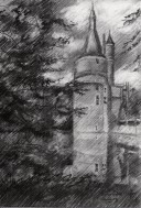 impressionistic graphite pencil drawing thumbnail of a castle
