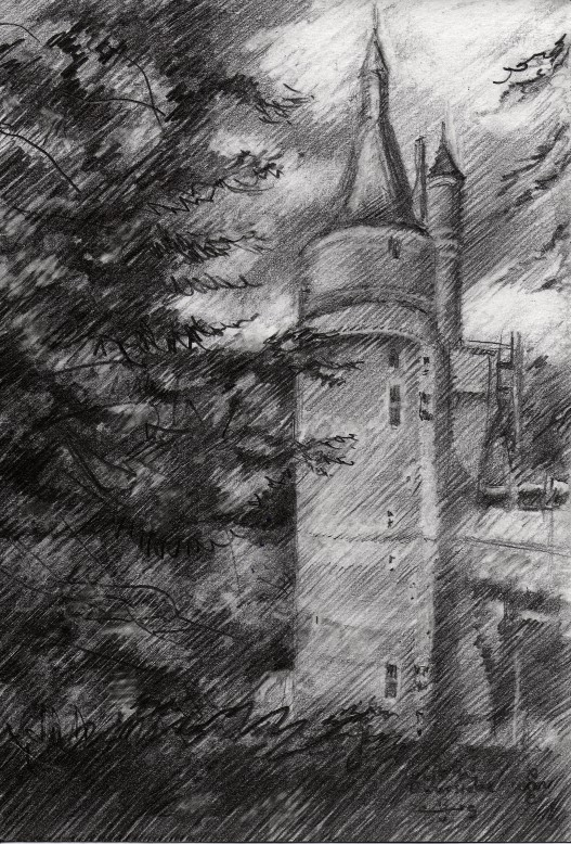 impressionistic castle graphite pencil drawing