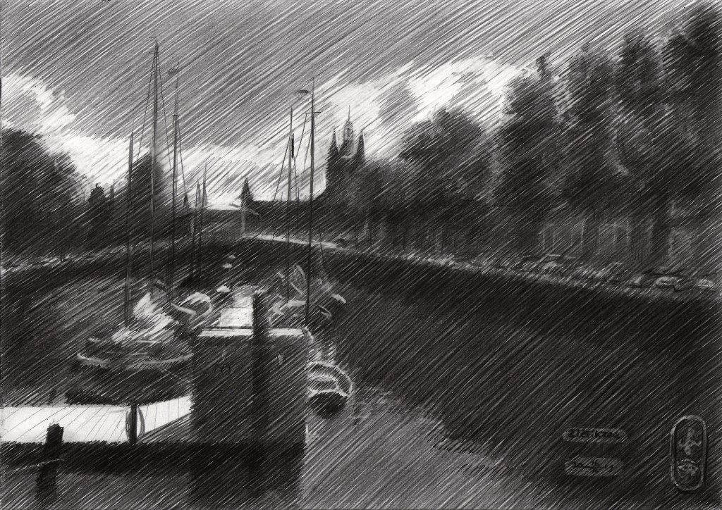 impressionistic harbour graphite pencil drawing