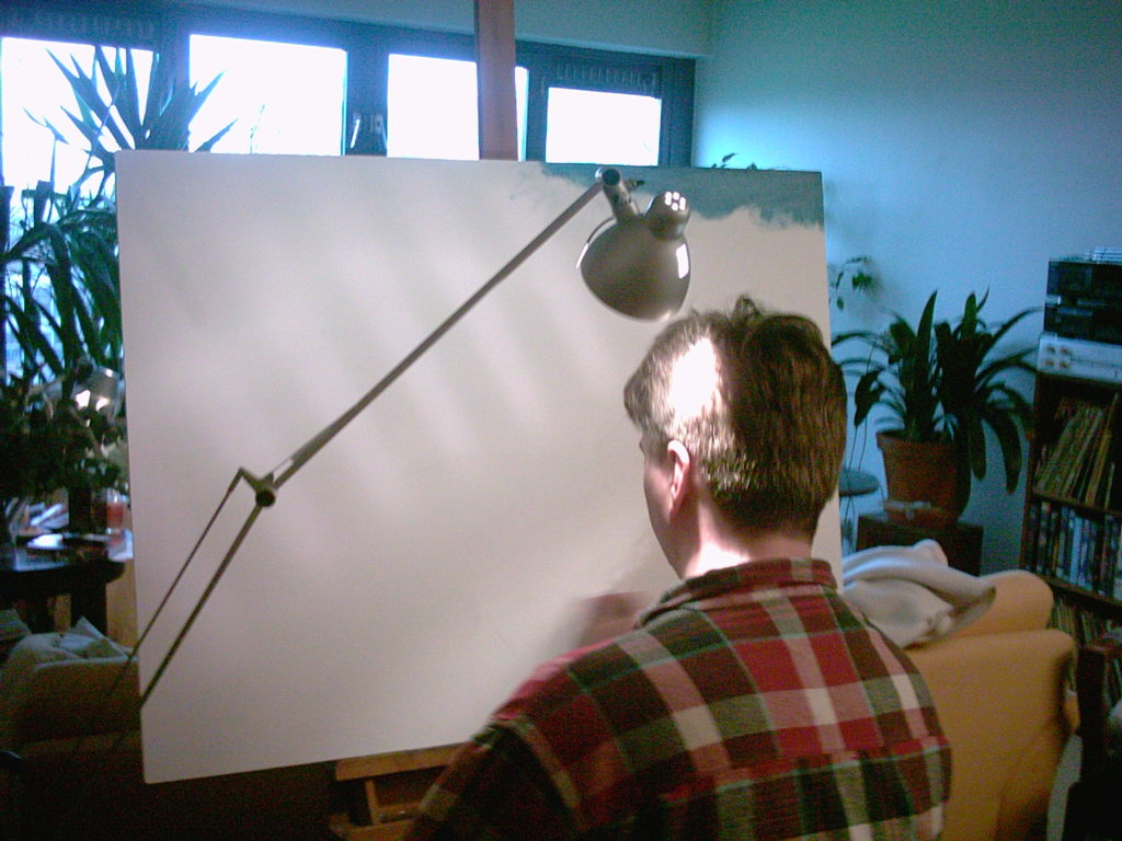 Corne Akkers painting at home
