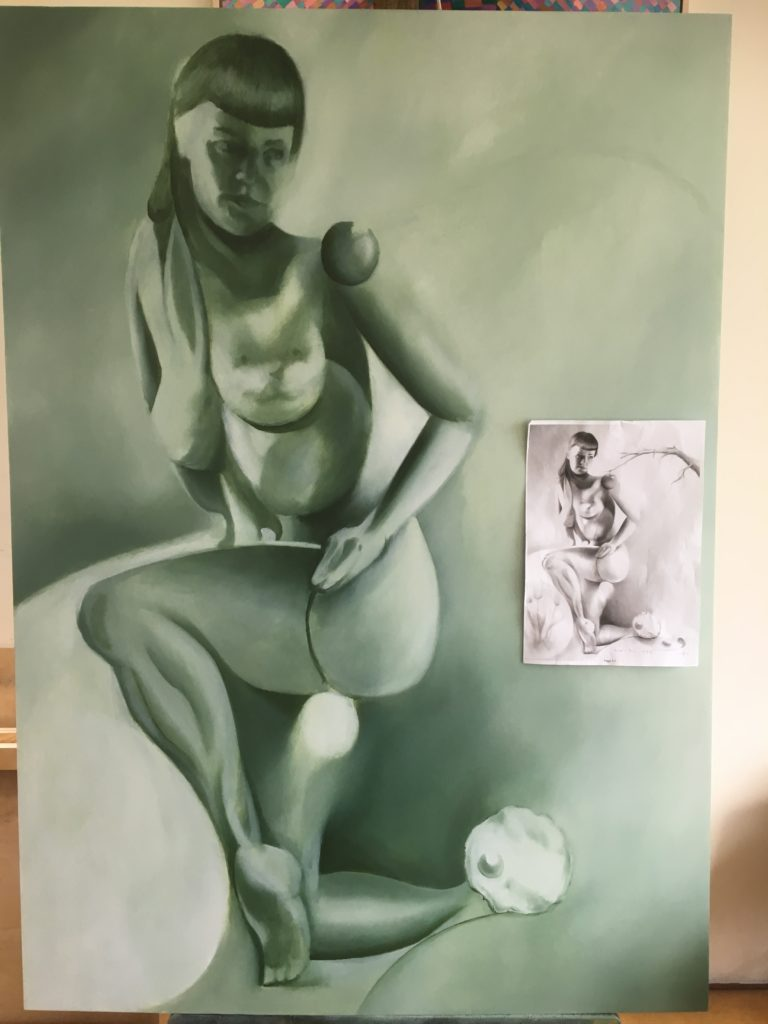 Work in progress on oil painting The Reveleation of Bettie Page