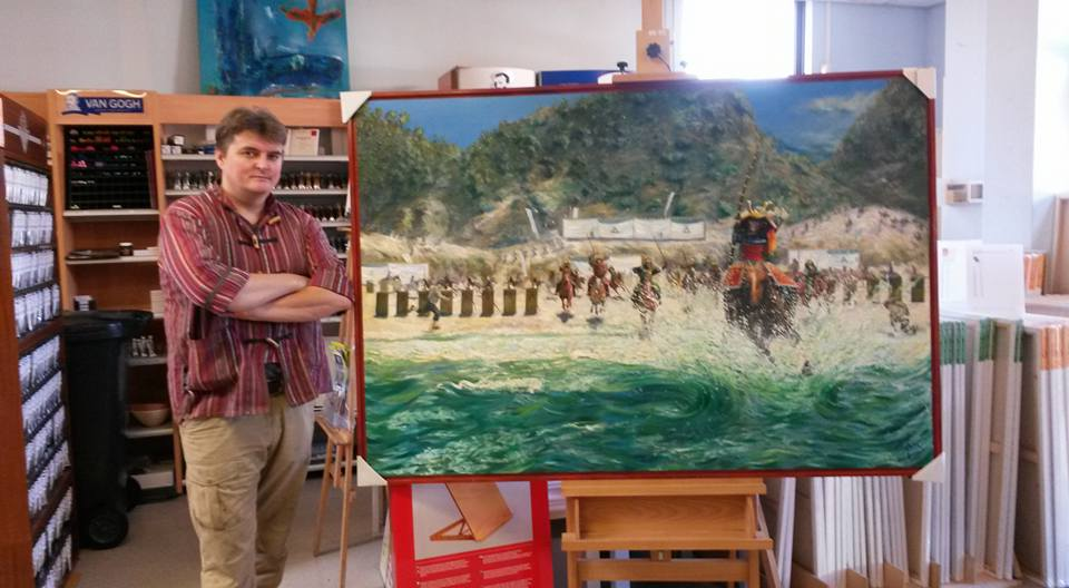 Corne Akkers posing with his painting Hakata Bay - 29-06-15