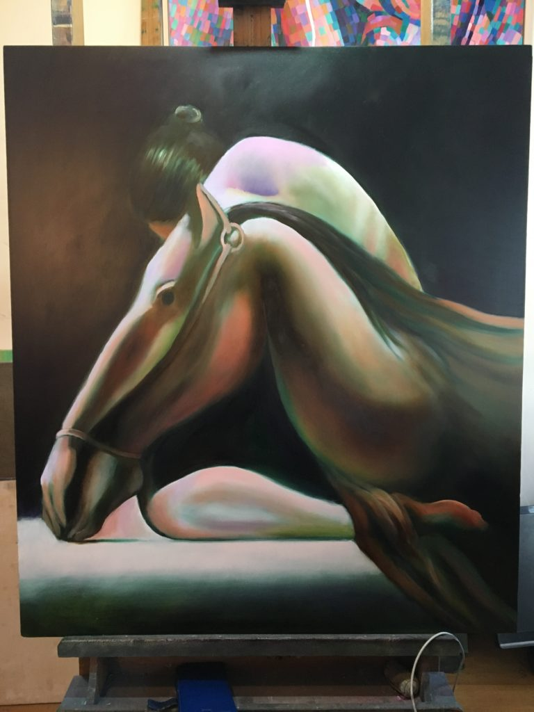 Work in progress on oil painting una in aliam by corne akkers