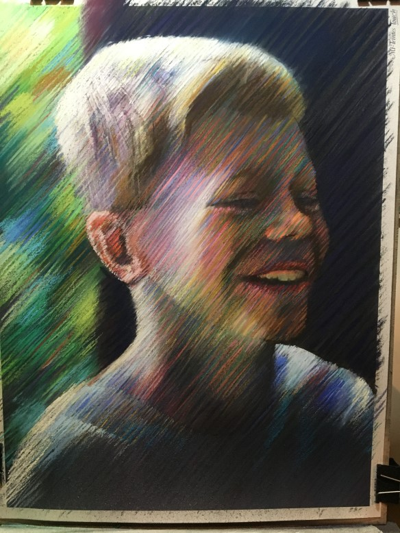 Work in progress on pastel drawing Wouter