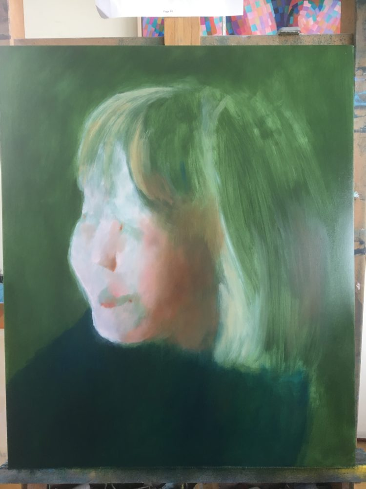 Work in progress on oil painting The Green Eyd Girl