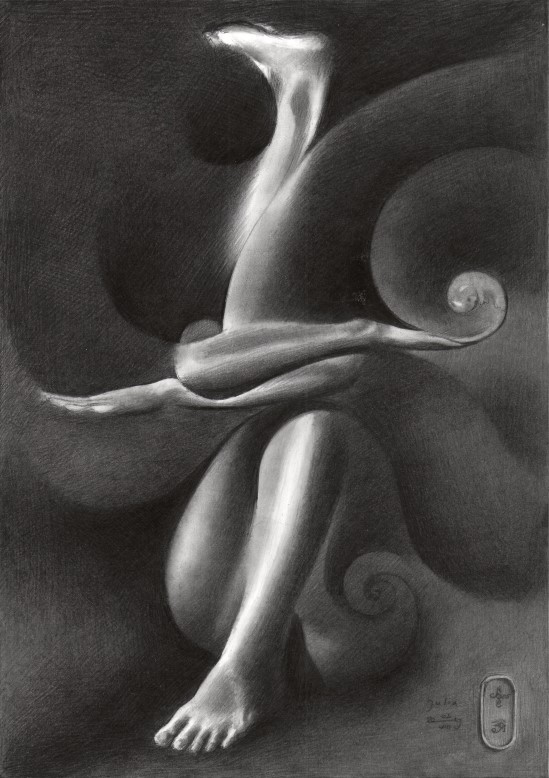 Surrealistic nude graphite pencil drawing of Julia