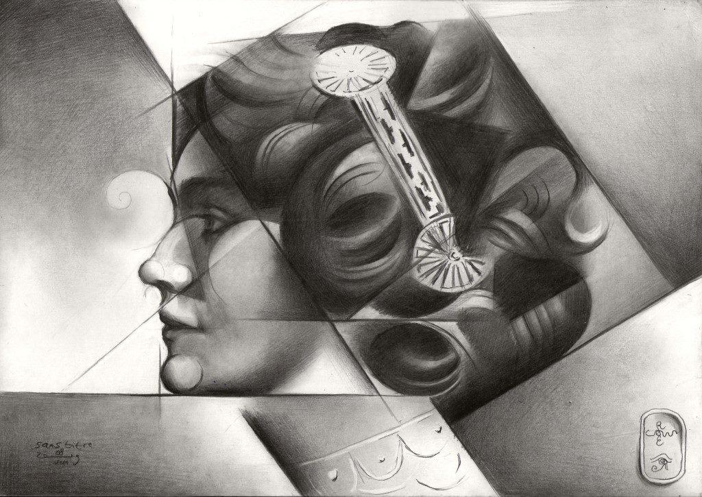 cubistic portrait graphite pencil drawing of Lily elsie