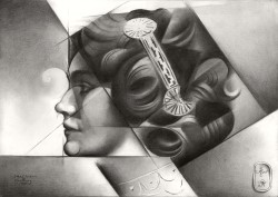 Cubistic portrait graphite pencil drawing thumbnail of Lily Elsie
