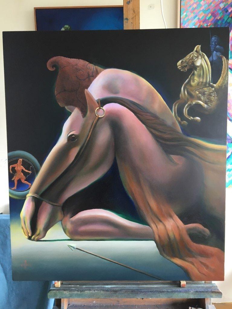 Work in progress on oil painting una in aliam by corne akkers