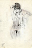 Realistic nude graphite pencil drawing thumbnail