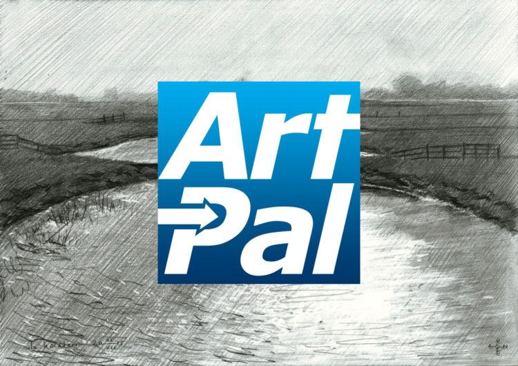 Impressionistic landscape graphite pencil drawing advertisement