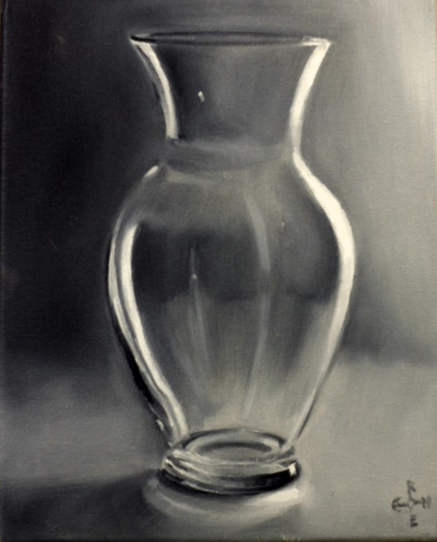 Realistic vase oil painting