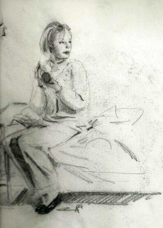 Realisitc female graphite pencil drawing