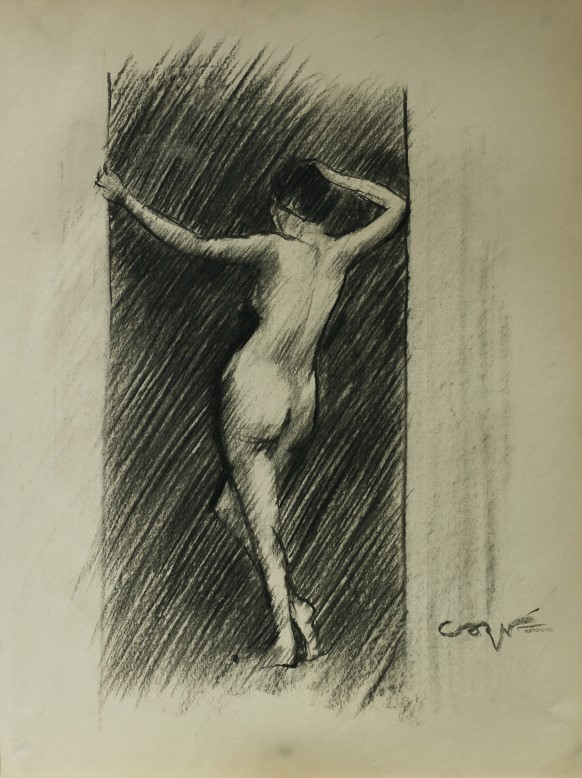Impressionistic nude charcoal sketch