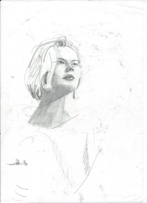 Realistic graphite pencil portrait sketch