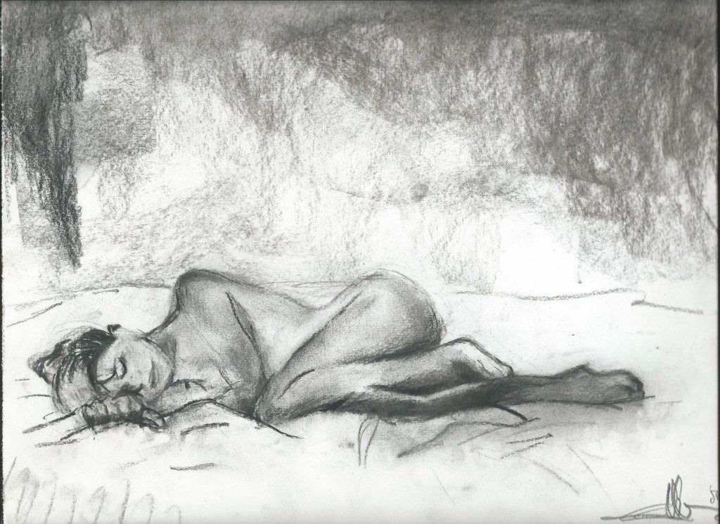 Realistic nude charcoal and conté sketch