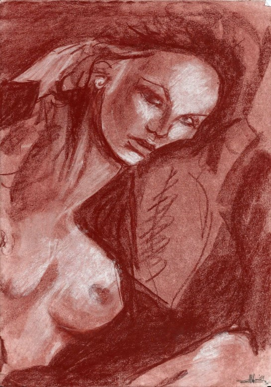 Realistic nude conté sketch