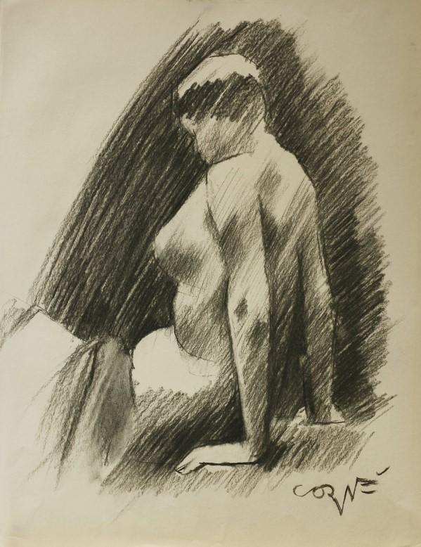 Impressionistic nude chahrcoal sketc