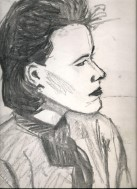 Realistic charcoal portrait sketch thumbnail