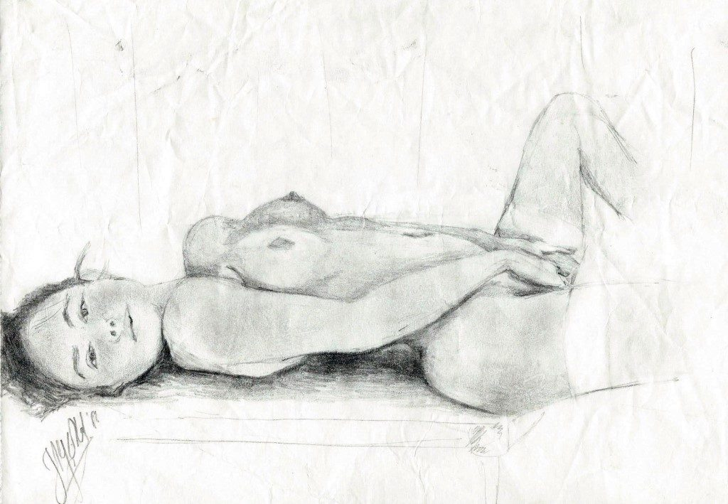 Realistic graphite pencil nude drawing