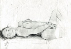 Realistic graphite pencil nude drawing thumbnail