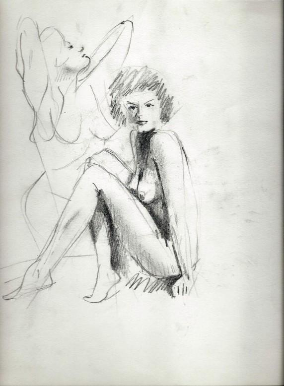 Realistic nude graphite pencil sketch