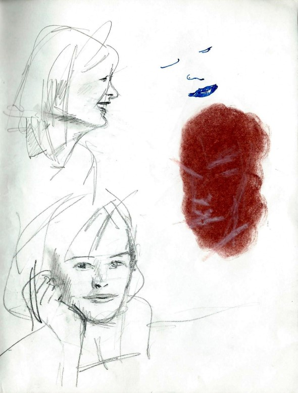Realistic graphite pencil and conté sketches