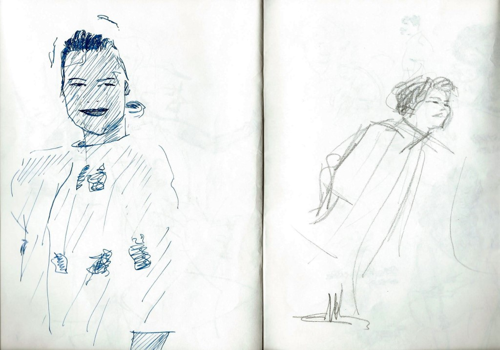 Realistic graphite pencil and pen sketches
