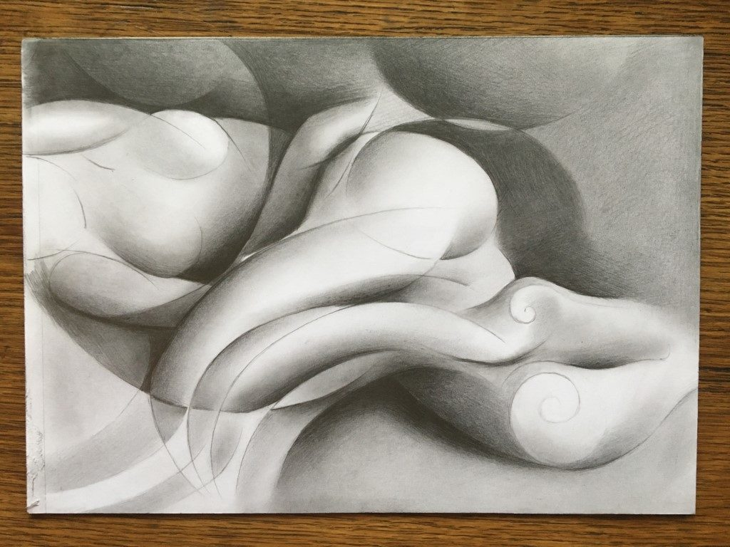 work in progress on a roundism drawing