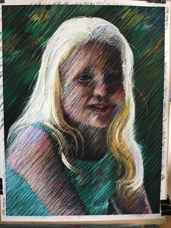 Work on progress on pastel drawing Manon