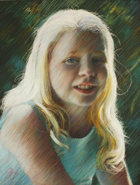 impressionistic portrait pastel drawing
