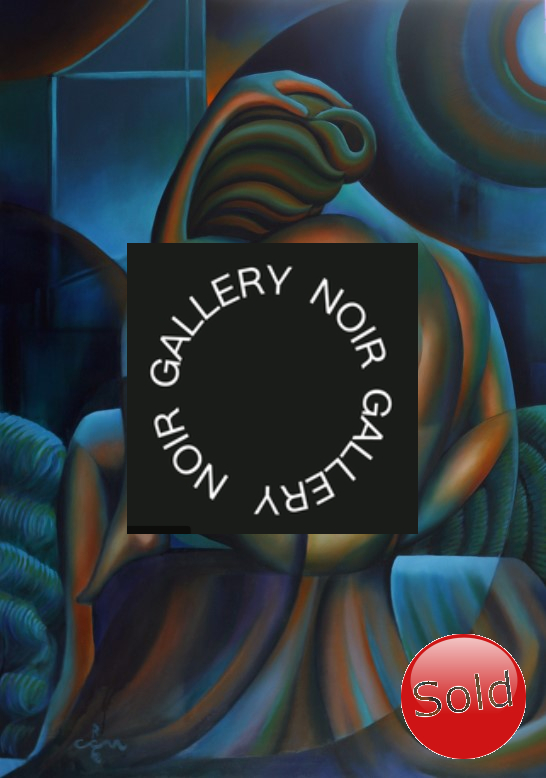 Cubistic nude oil painting advertisement