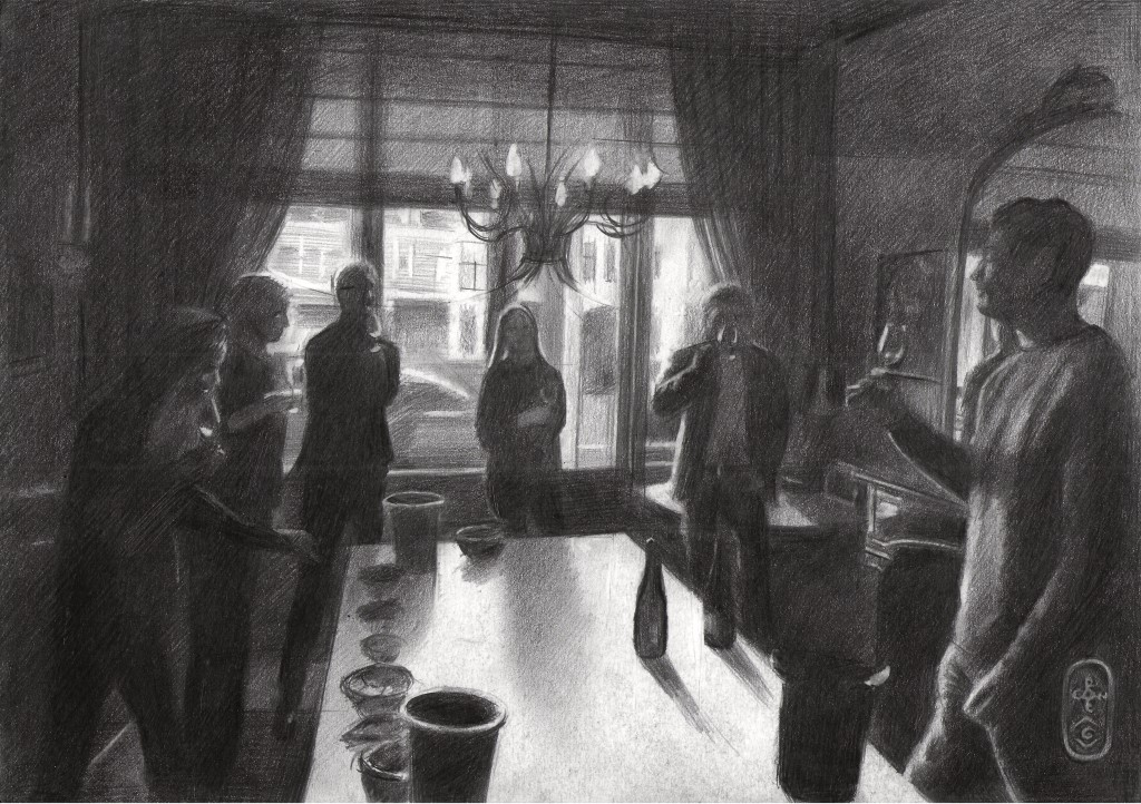 impressionistic group of people graphite pencil drawing
